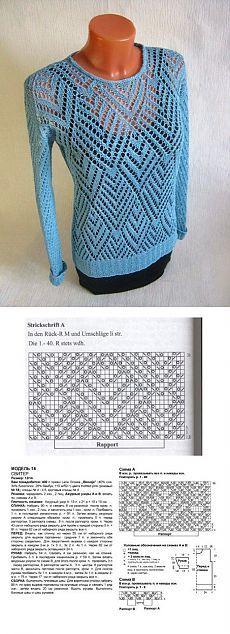 Голубой ажурный пуловер спицами
