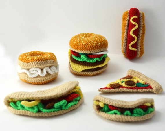 Fast Food Collection - Hamburger - Taco - Bagel with Cream Cheese - Hotdog - Pizza Slice - Toy Food - Play Kitchen - CROCHET PATTERN NO.82