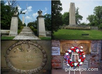 "President William Henry Harrison's Grave | 9th President of the U.S. (March - April 1841) | Birth: February 9, 1773 | Death: April 4, 1841 | Cause of Death: Sepsis, Pneumonia | Burial: William Henry Harrison Tomb State Memorial, North Bend, Ohio | Quote: ""I believe that all the measures of the Government are directed to the purpose of making the rich richer and the poor poorer."""