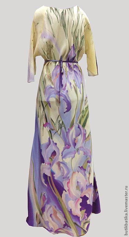 Купить или заказать Платье шелковое Лель - сиреневые ирисы в интернет-магазине на Ярмарке Мастеров. Платье длинное (в пол) - модель Лель - сиреневые ирисы изготовлено из натурального шелка - крепдешина с технике ручной росписи Батик. Расписано с двух сторон Любые размеры на заказ от 42 до…