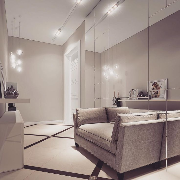 Прихожая преходящая в длинный коридор , классическое решение - зеркало , работает всегда! #дизайнинтерьера#прихожая#коридор#bronx#интерьер#москва