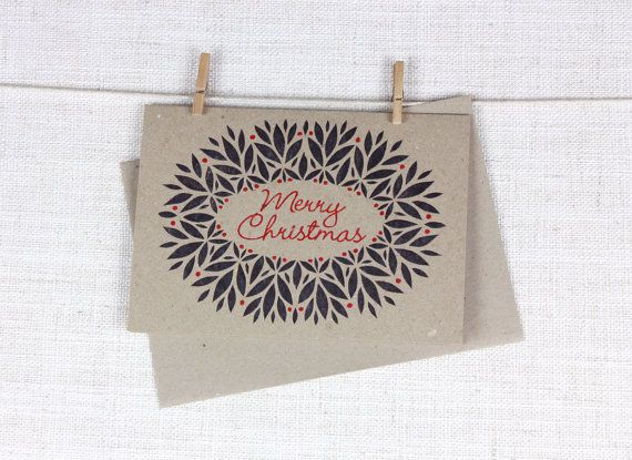 100% Recycled Greeting card with Merry Christmas Wreath Design #merry #christmas #greeting #card #eco
