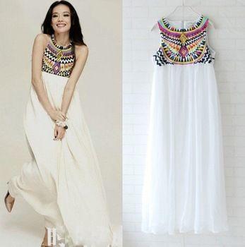 2014 nueva moda de las lentejuelas Diseño gasa Maxi vestidos bordados Playa bohemia largo vestido de noche elegante de la vendimia magnífica fiesta