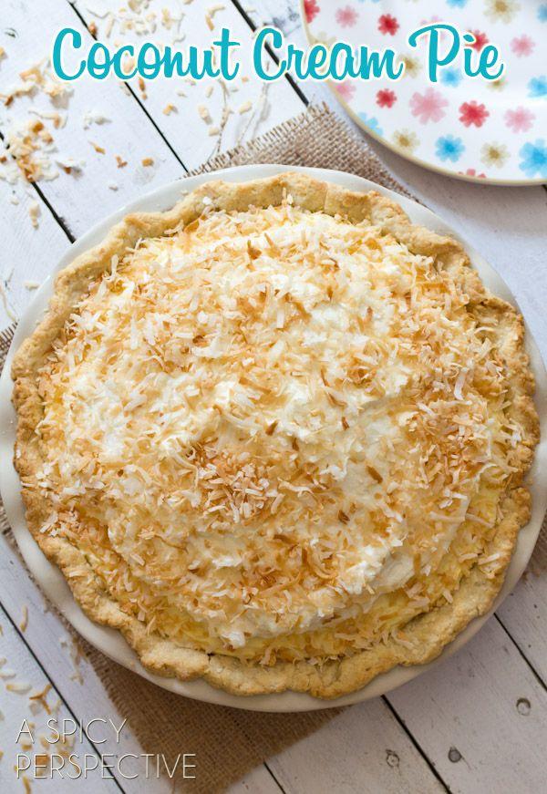 Dreamy Coconut Cream Pie on ASpicyPerspective.com #pie #coconut #coconutcreampie
