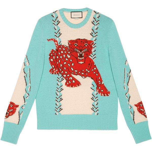 Gucci Leopard Intarsia Wool Crewneck Sweater ($980) ❤ liked on Polyvore featuring men's fashion, men's clothing, men's sweaters, mens woolen sweaters, mens wool sweaters, gucci mens sweater, mens crew neck sweaters and mens crewneck sweaters