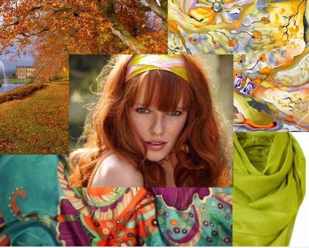 Цветотип осень, Кожа: теплого оттенка, без румянца, от прозрачно-белой до золотистой, часто с веснушками. Волосы: все оттенки рыжего от светло-золотистого до медно-каштанового. Цвет глаз: яркий, выразительный, от светло-голубых и серых до карих и насыщенно-зеленых.