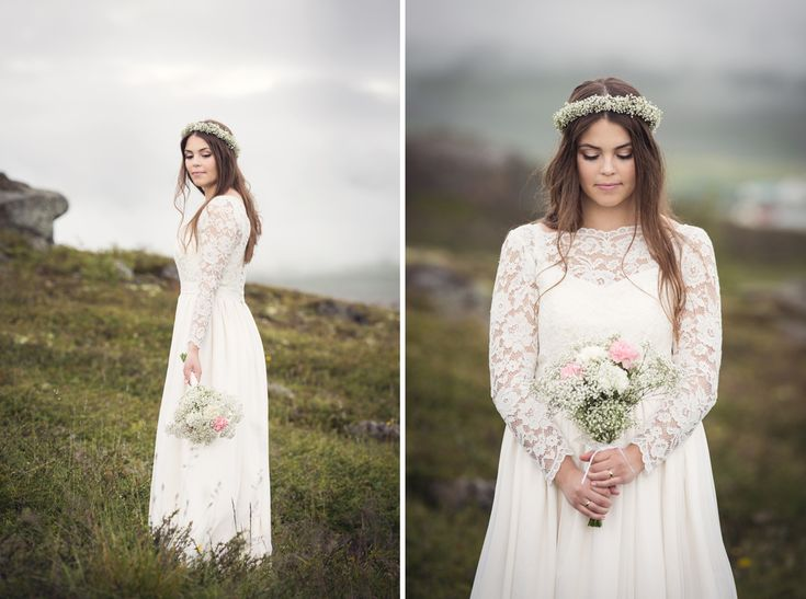 wedding portrait, iceland, wedding photographer, destination wedding, swedish wedding photographer, Bröllop, Bröllopsfotograf, Bohemian, bride, baby's breath, krans Photo: www.photodesign.nu