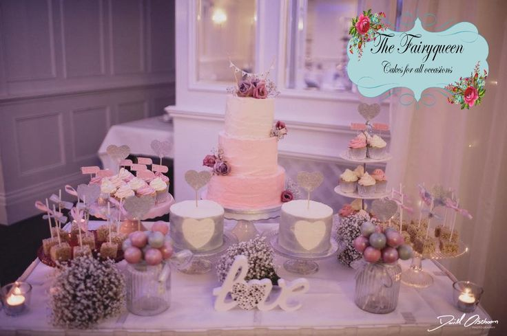 Beautiful ombre blush buttercream cake with fresh flowers, cupcakes, cakepops & Krispie Squares