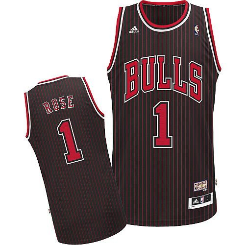 4387352e265 Adidas NBA Chicago Bulls 1 Derrick Rose Hardwood Classic Fashion Swingman Black  Red Stripe Jersey