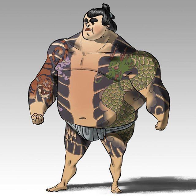 【noahnoahdraws】さんのInstagramをピンしています。 《Yakuza Sumo (edits) . . . . . #japanesetattoos #tattoo #japanesedragontattoo #dragon #japanesetiger #body #guard #bodyguard #sumo #wrestler #sumowrestler #yakuzatattoo #yakuza #characterdesigns #sketchdaily #digitalillustration #digitalpaint #happysundayeveryone #cherryblossoms》
