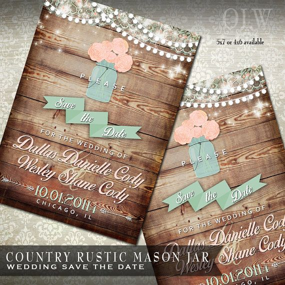 Mason Jar Rustic Wedding Save the Date - Rustic Wood with mason jar filled with flowers - Country Wedding Announcements on Etsy, $4.50