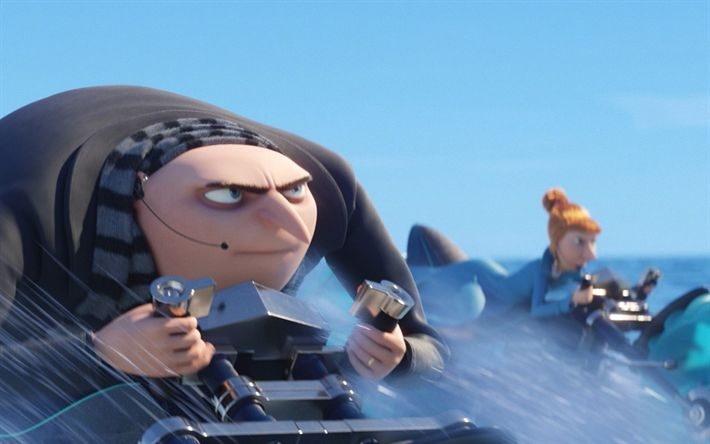 Download wallpapers Felonius Gru, Lucy Wilde, 3d-animation, Despicable Me 3, minions