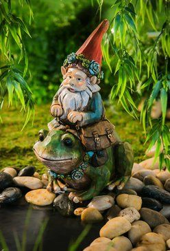 Gnome on Frog Statue