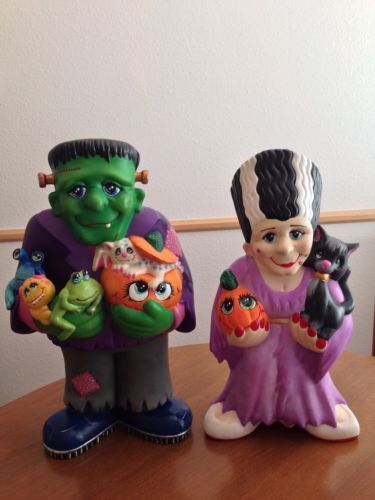 acrylic painted ceramic bisque mr and mrs frankenstein halloween decoration - Ceramic Halloween Decorations
