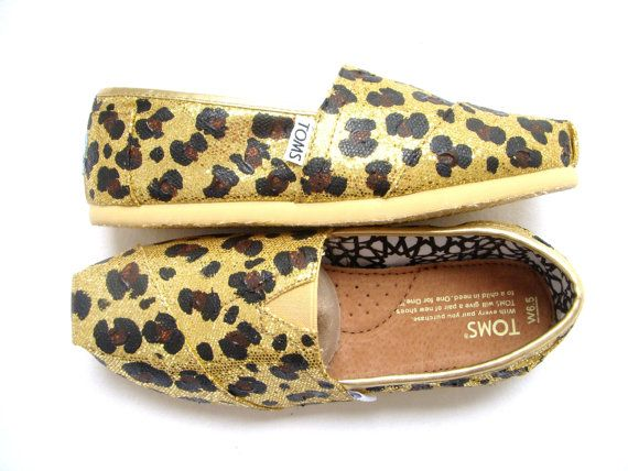 The Goldie  Cheetah Print on Gold Glitter TOMS by FruitfulFeet, $120.00