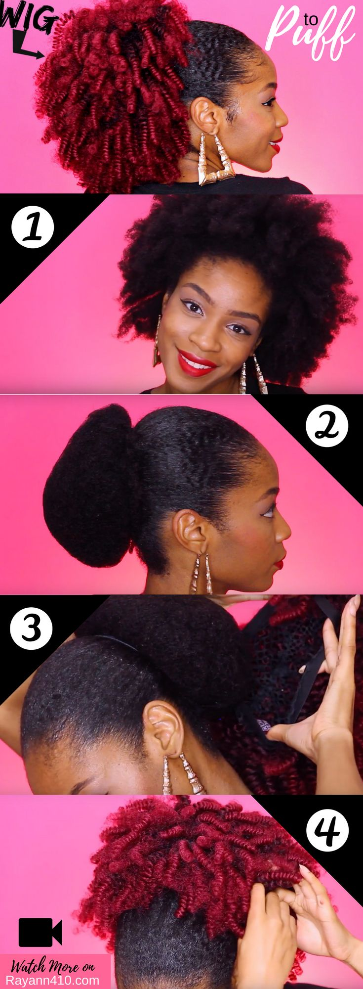 Here's how to turn a wig into a faux ponytail or natural hair puff.  #naturalhair #naturalhairstyles  #naturalhairmag  #naturalhaircommunity