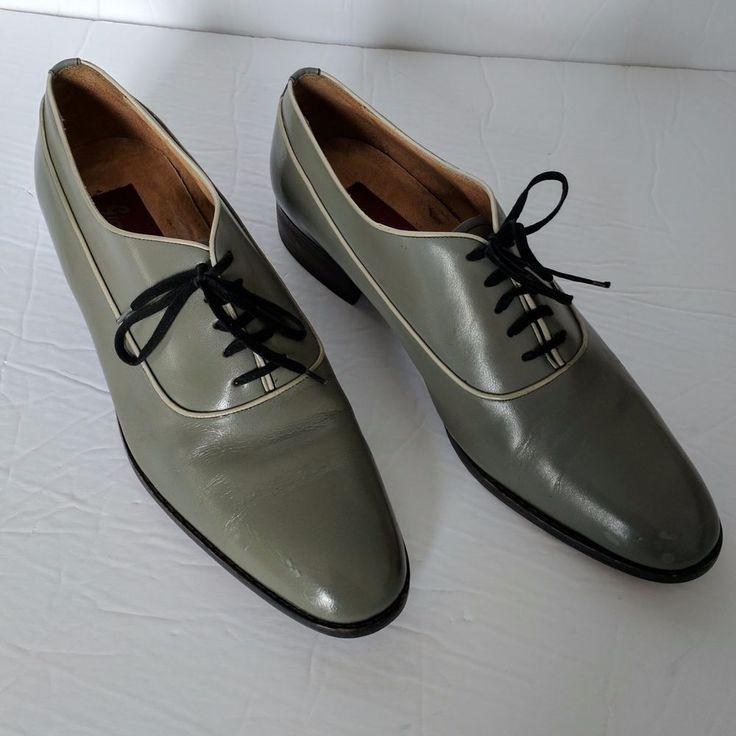Retro Leather Gray Men Shoes Oxford Giovanni Eatons Lace sz 8.5 D Vintage 70s #GiovanniEaton #Oxfords