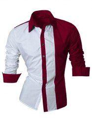 Bloque de color empalme Diseño cuello camisa de manga larga vuelta-Abajo para los hombres