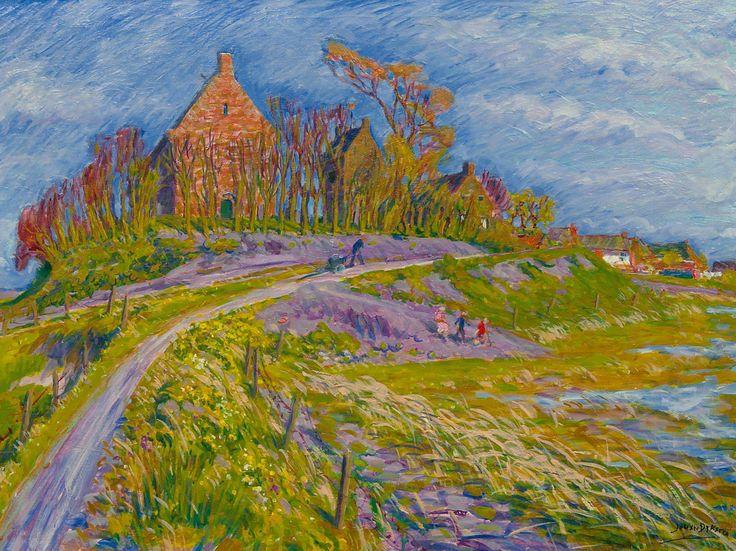 Gezicht op terpdorp Ezinge, Johan Dijkstra (1896-Groningen-1978)