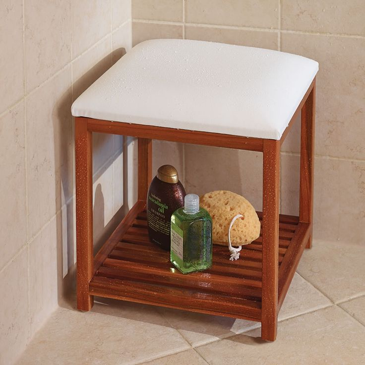 We still need to have these made for the three showers | The Cushioned Teak Shower Stool #inspiration #getthistocarpenter