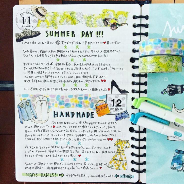 6/11,12のもどき。 #ルーズリーフで#ほぼ日#ほぼ日もどき#hobonichi#ほぼ日1年生#手帳ゆる友#ましゅ日付#マスキングテープ#絵日記#手帳時間#手帳タイム --------------------- 文字のやる気なし。 * 日記がなかなかにかけない。 時間はたっぷりあるんだけど、ダイニングテーブルしかないから、のんびり手帳タイムしてると脚がパンパンに浮腫んでしまう(´ω`;) だから最近お絵描きなしの手抜き日記ばかりなのです‥。