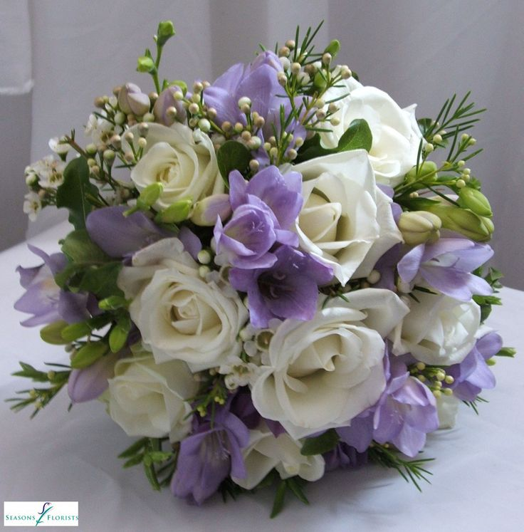 Lilac Freesia and White Rose Bridal Bouquet