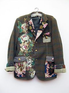 Vintage jacket embellished with vintage needlepoint and embroidery. Love this - by Mandy Patullo of Thread and Thrift