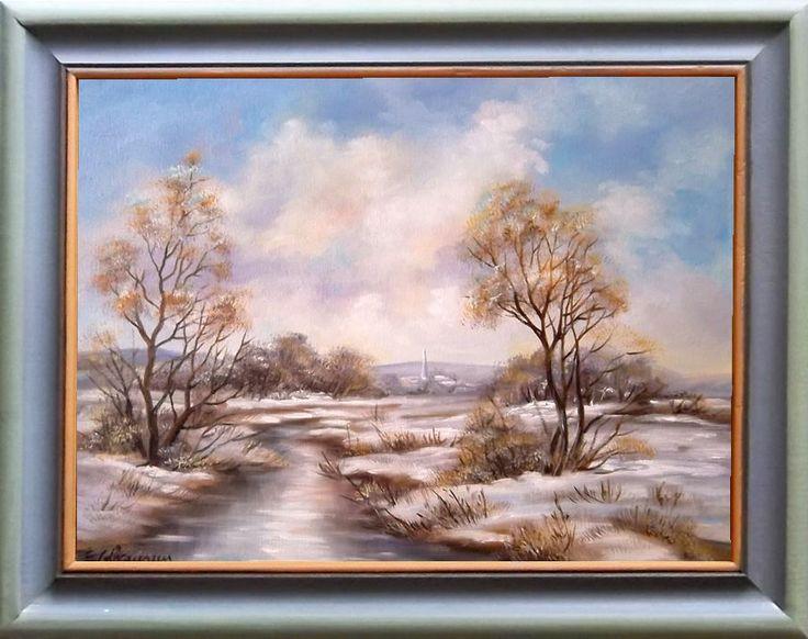 Winter Landschaft Original moderne Öl Malerei Handmalerei Ölgemälde kaufen Kunst