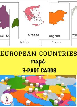 Montessori all European countries maps 3-part cards⎞ This set of cards contains 39 European countries maps 3-part cards. They will help children to recognize countries on the global map and to learn more about these countries.