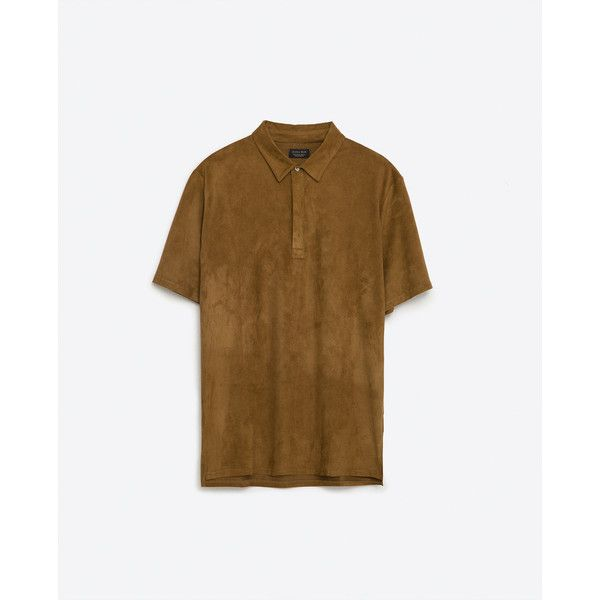 Zara Suede Polo Shirt ($36) ❤ liked on Polyvore featuring men's fashion, men's clothing, men's shirts, men's polos, beige, mens suede shirt and mens polo shirts
