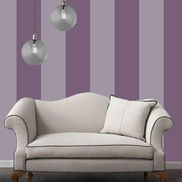 Buy Custom striped wallpaper purple and white