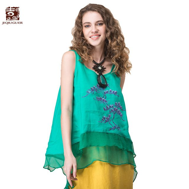 Jiqiuguer Women Embroidery Patchhwork Summer Tank Tops O-neck Sleeveless Solid Vest  Plus Size Casual Blouses Shirts G171Y021