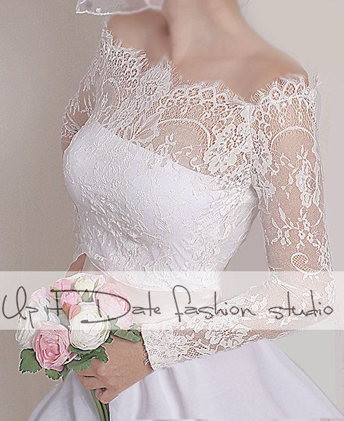 Off-Shoulder milky white wedding bolero/ by UpToDateFashion