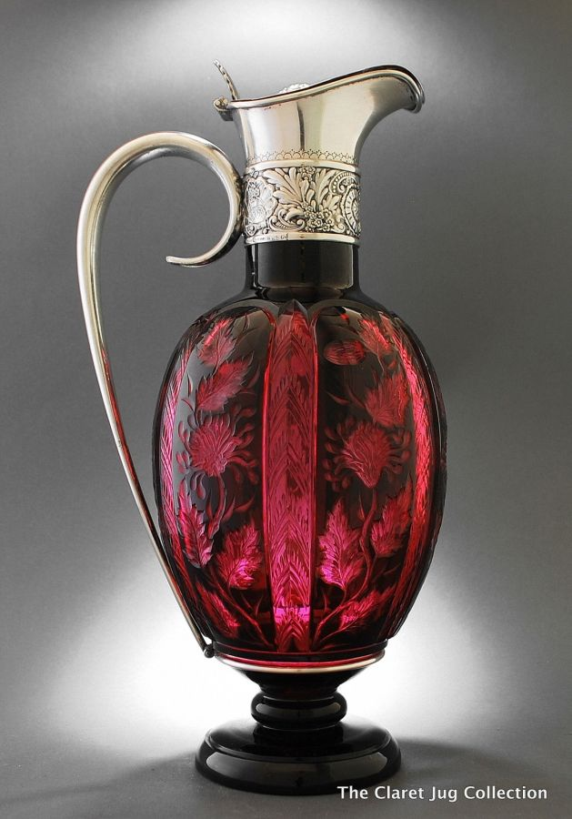 Gorham cranberry glas & silver mounted pitcher / claret jug / ewer... one of my favourites