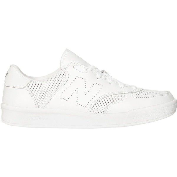 New Balance Women Crt300 Leather Sneakers ($115) ❤ liked on Polyvore featuring shoes, sneakers, white, perforated shoes, perforated leather shoes, white trainers, leather upper shoes and cushioned shoes