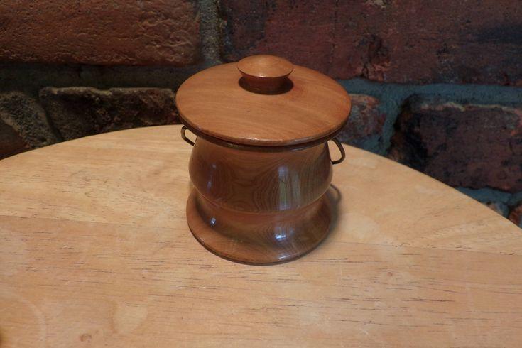 Hand Turned Juniper wood lidded dish, Juniper wood jar, 1940's wooden jar, handled wooden jar, Juniper wood box, engagement ring box by Morethebuckles on Etsy