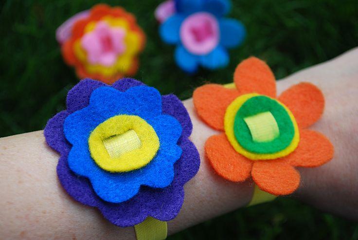 No-Sew Felt flower bracelets