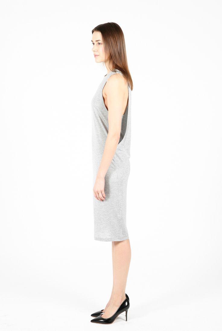 Modern cut jersey dress.