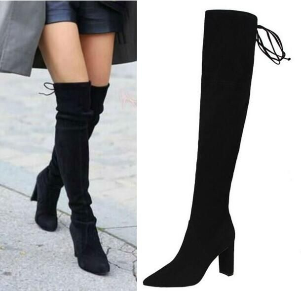 Womens Stretch Suede Over the Knee Boots Sexy Fashion Slim Thigh High Boots Thick Heels Shoes Woman 2016 Black Khaki Winter Bota