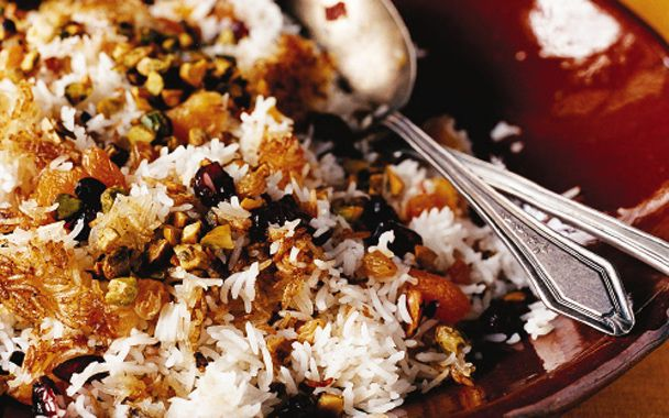 Jeweled Rice with Dried Fruit: 2000s Recipes + Menus : gourmet.com