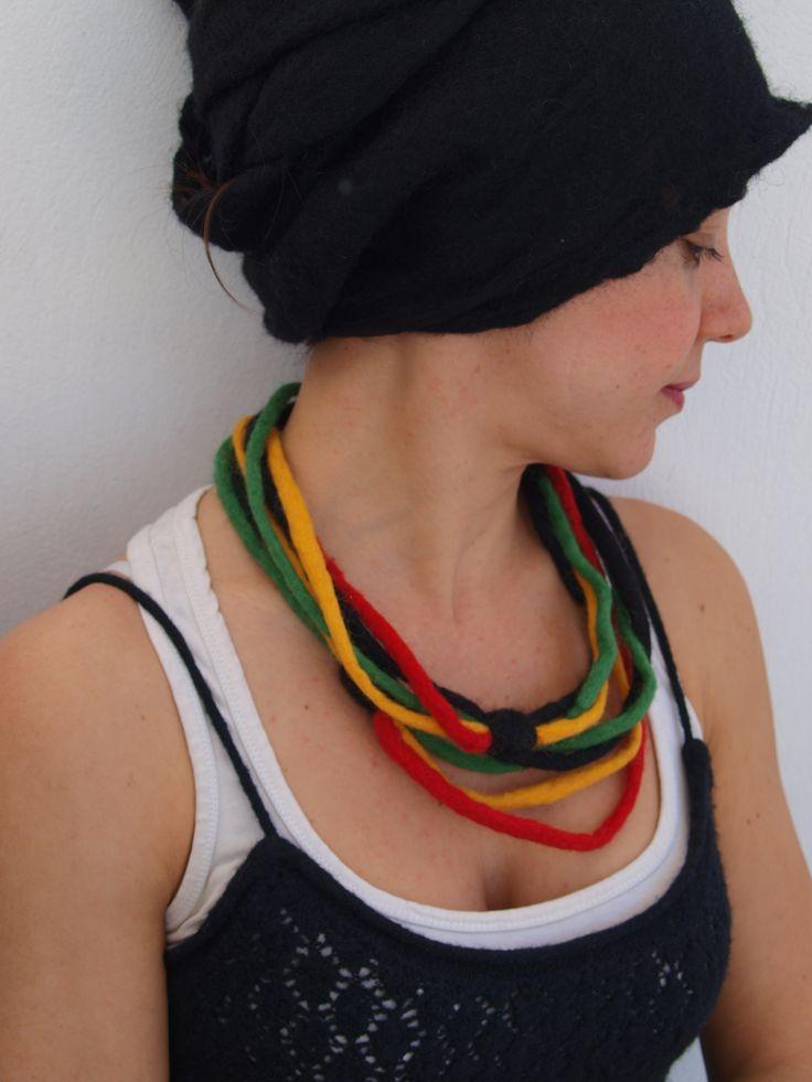 Jamaican felt necklace.
