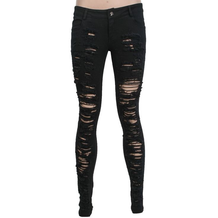 A pair of black denim jeans for women, with destroyed look and torn fabric, from the Punk Rave apparel brand. Skinny fit, slightly stretchy cotton fabric.
