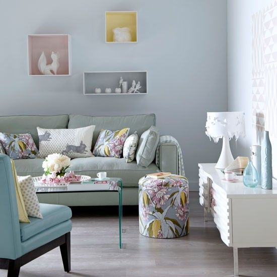 Soothing pastel living room - Love the Wall Colour and <3 <3 <3 the boxes on the wall