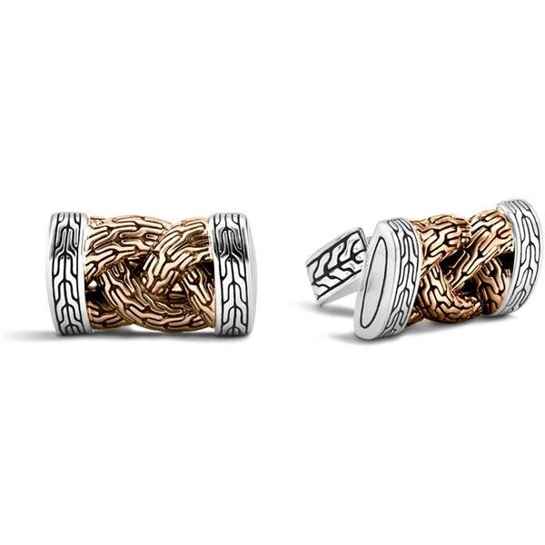 John Hardy Men's Classic Chain Bronze and Silver Braided Cufflinks ($450) ❤ liked on Polyvore featuring men's fashion, men's accessories, cuff links, mens silver chains, mens cuff links, mens chains and mens two tone gold chains