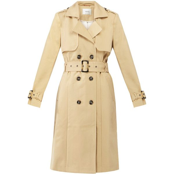 Gestuz Elin Camel Belted Trench Coat ($135) ❤ liked on Polyvore featuring outerwear, coats, beige, beige coat, double breasted belted coat, belted trench coat, double-breasted trench coat and trench coats