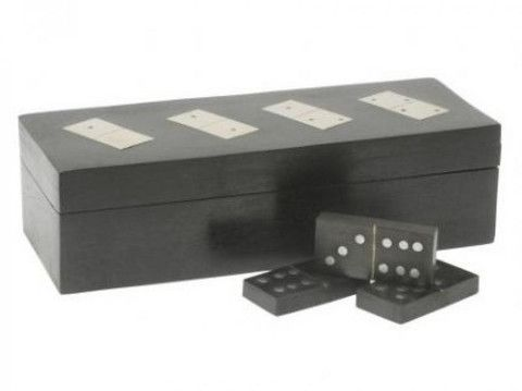 This smart wooden dominoes box has a black grain finish with inlaid nickel dominoes on the lid. Inside is a set of black dominoes with nickel pips - handsome enough to keep on display as an ornament and close to hand for a quick game.  £24.99 at Holly House Gifts, Enterprise Shopping Centre, http://www.enterprise-centre.org/shop/holly-house-gifts