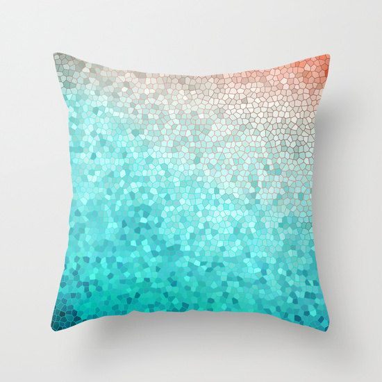 Teal Duvet Cover Martha Coastal ombre by ArtfullyFeathered