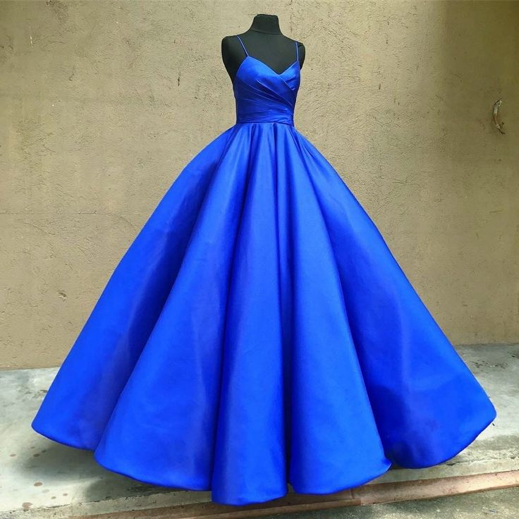 spaghetti straps v neck royal blue taffeta wedding dresses ball gowns