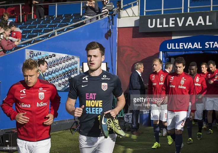 Captain Per Ciljan Skjelbred and Haavard Nordtveit of Norway wit Eat Move Sleep t-shirt during the International Friendly match between Norway and Sweden at Ullevaal Stadion on June 8, 2015 in Oslo, Norway.