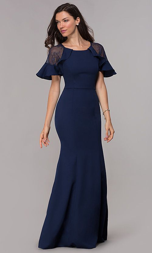 c554f82146d3c Short-Sleeve Formal Mother-of-the-Bride Long Dress